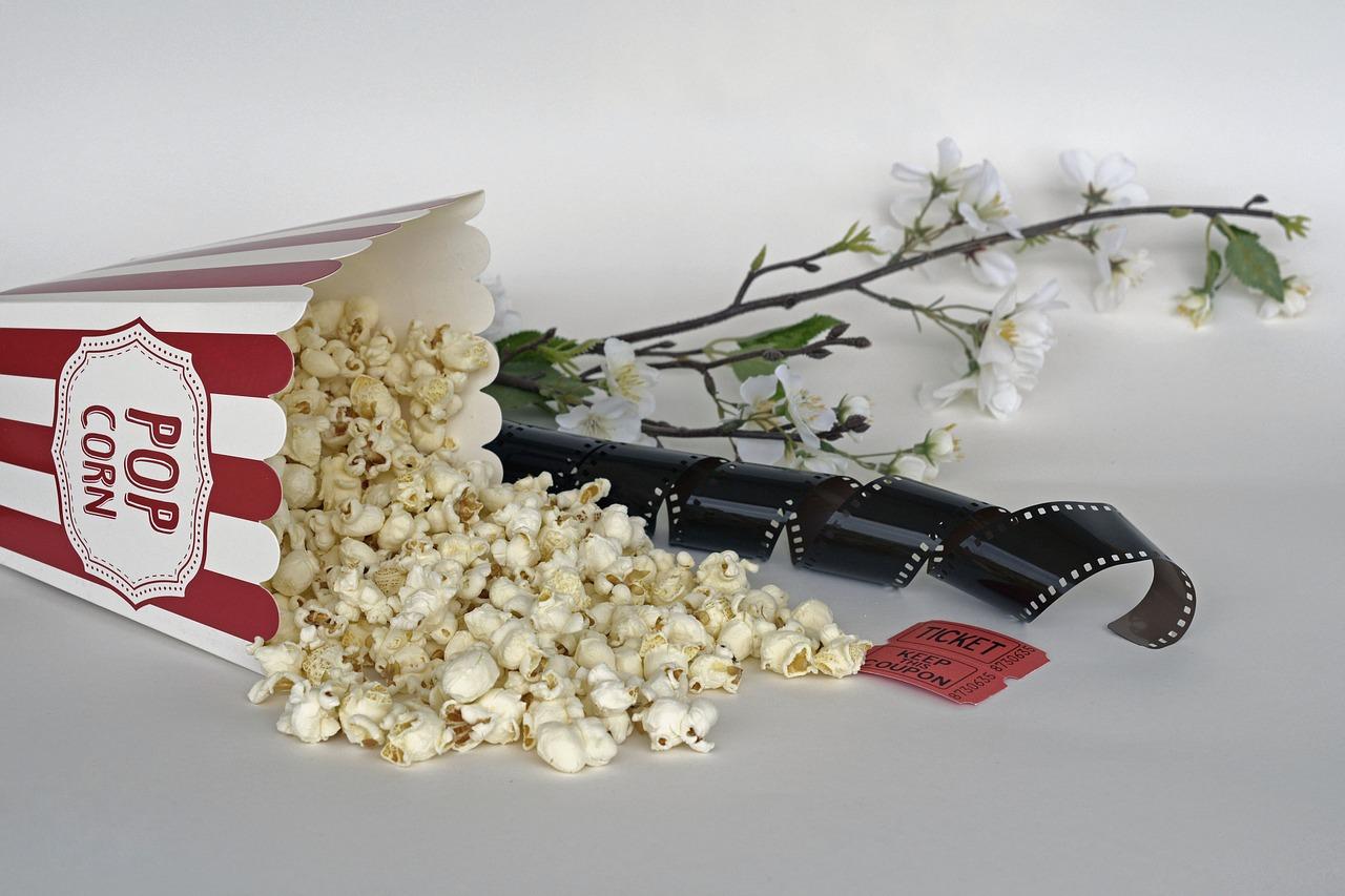 popcorn, cinema, ticket